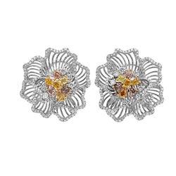 18k Three Tone Gold 3.30CTW Multicolor Dia, Pink Diamond and Diamond Earrings, (