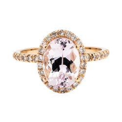 2.31 ctw Morganite and Diamond Ring - 14KT Rose Gold