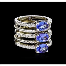 2.43 ctw Tanzanite and Diamond Ring - 14KT White Gold