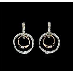 0.75 ctw Diamond Earrings - 14KT Tri Color Gold