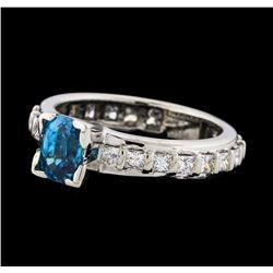 1.60 ctw Blue Zircon and Diamond Ring - 18KT White Gold