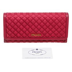 Prada Pink Quilted Fabric Leather Flap Wallet