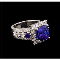 4.94 ctw Tanzanite, Sapphire and Diamond Ring - 14KT White Gold