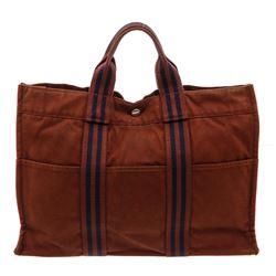 Hermes Brown Blue Canvas Sac Fourre MM Tote Bag