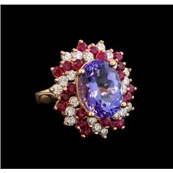 14KT Rose Gold 7.95 ctw Tanzanite, Ruby and Diamond Ring