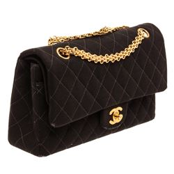 Chanel Black Quilted Fabric Double Flap Shoulder Handbag