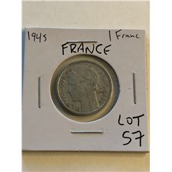 1945 French 1 Franc Nice Early Coin