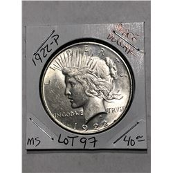 1922 P Peace Silver Dollar MS High Grade Nice Early US Coin