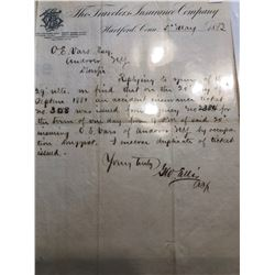 Original 1881 and 1883 Hartford Letter and Notes