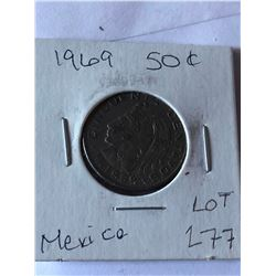 1969 Mexico 50 Cents in High Grade