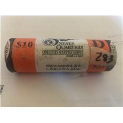 10 Dollar Bank Special Mint Roll State Quarters NORTH DAKOTA D