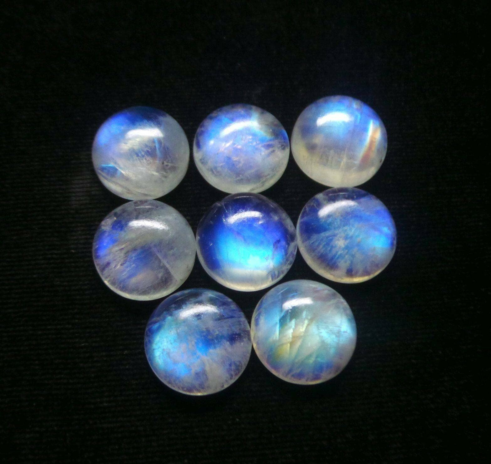 Natural Rainbow Moonstone Cabochon AAA Quality Gemstone Rainbow Moonstone Blue Fire Cabochon Moonstone Loose stone Best For Silver