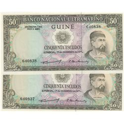 Portuguese Guinea, 50 Escudos, 1971, UNC, p44, (Total 2 consecutive banknotes)br/serial numbers: 640