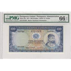 Portuguese Guinea, 100 escudes, 1971, UNC, p45abr/PMG 66 EPQ, serial number:931520