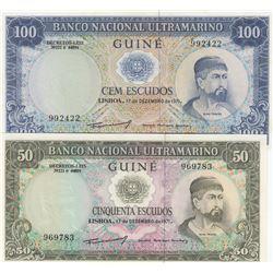 Portuguese Guinea, 50 Escudos and 100 Escudos, 1971, UNC, p44, p45, (Total 2 banknotes)br/Serial Num