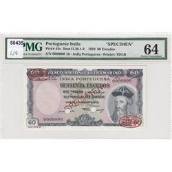 Portuguese India, 60 Escudos, 1959, UNC, p42s, SPECIMENbr/PMG 64, serial number: 00000000