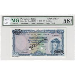 Portuguese India, 100 Escudos, 1959, AUNC, p43s, SPECIMENbr/PMG 58 EPQ, serial number: 00000000