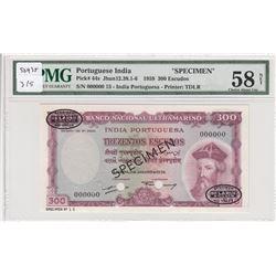 Portuguese India, 300 Escudos, 1959, AUNC, p44s, SPECIMENbr/PMG 58 EPQ, serial number: 00000000