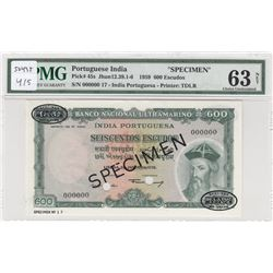 Portuguese India, 600 Escudos, 1959, UNC, p45s, SPECIMENbr/PMG 63 NET, serial number: 00000000