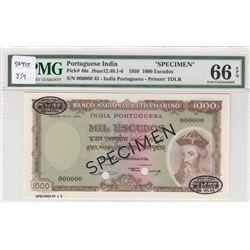Portuguese India, 1000 Escudos, 1959, UNC, p46s, SPECIMENbr/PMG 66 EPQ, serial number: 00000000