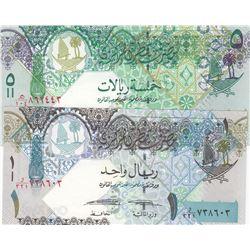 Qatar, 1 Riyal and 5 Riyals, 2003, UNC, p21, p22, (Total 2 banknotes)br/