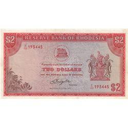 Rhodesia, 2 Dollars, 1977, VF (+), p35cbr/serial number: K/130 193445