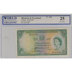 Rhodesia and Nyasaland, 1 Pound, 1960, VF, p21bbr/WBG 25, Queen Elizabeth II portrait, serial number