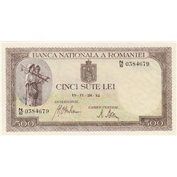 Romania, 500 Lei, 1942, UNC, p51br/serial number: N/10 0384679