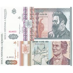 Romania, 500 Lei and 1.000 Lei, 1992/1993, UNC, p101, p102, (Total 2 banknotes)br/serial numbers: H.