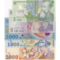 Romania, 1 Leu, 5 Lei, 1.000 Lei, 2.000 Lei and 5.000 Lei, 1998/2005, UNC, (Total 5 banknotes)br/3 o