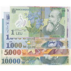 Romania, 1 Leu (2), 5 Lei, 1000 Lei (2), 2000 Lei, 5000 Lei and 10000 Lei, 1998/2005, UNC, (Total 8