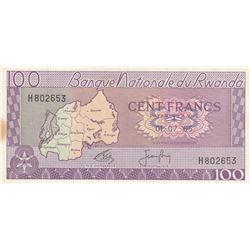 Rwanda, 100 Francs, 1965, XF, p8bbr/serial number: H802653
