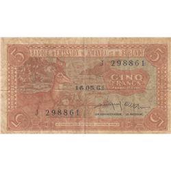 Rwanda-Burundi, 5 Francs, 1964, VF, p1br/serial number: J 298861