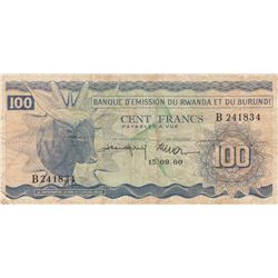 Rwanda-Burundi, 100 Francs, 1960, VF (-), p5br/serial number: B 241834