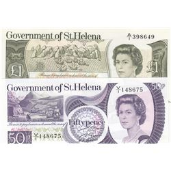 Saint Helena, 50 Pence and 1 Pound, 1979/1981, UNC, p5, p9, (Total 2 banknotes)br/Queen Elizabeth II