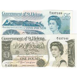 Saint Helena, 1 Pound and 5 Pounds, 1981/1998, UNC, p9, p11, (Total 2 banknotes)br/Queen Elizabeth I