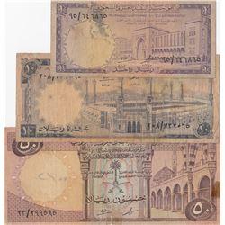 Saudi Arabia, 1 Riyal, 10 Riyals and 50 Riyals, 1966, FINE, p11, p13, p14, (Total 3 banknotes)br/