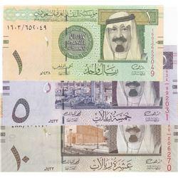 Saudi Arabia, 1 Riyal, 5 Riyals and 10 Riyals, 2012, UNC, p31, p32, p33, (Total 3 banknotes)br/seria