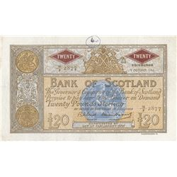 Scotland, 20 Pounds, 1963, VF, p94br/serial number: 10/F 2877