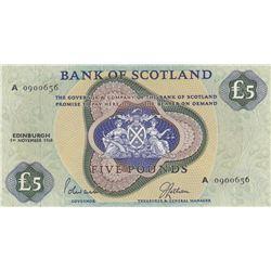 Scotland, 5 Pounds, 1968, AUNC, p110abr/serial number: A 0900656