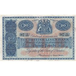 Scotland, 20 Pounds, 1946, XF, p159br/The British Linen Bank, serial number: 4-285