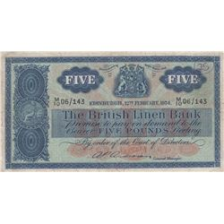 Scotland, 5 Pounds, 1954, VF, p161br/The British Linen Bank, serial number: M10 06/143