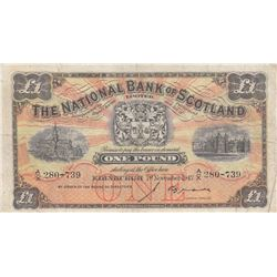 Scotland, 1 Pound, 1947, VF, p228br/serial number: A/X 280-739, The National Bank of Scotland