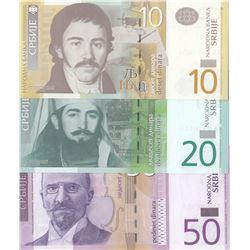 Serbia, 10 Dinara, 20 Dinara and 50 Dinara, 2011/2014, UNC, p54, p55, p56, (Total 3 banknotes)br/