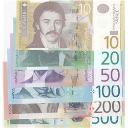 Serbia, 10 Dinara, 20 Dinara, 50 Dinara, 100 Dinara, 200 Dinara and 500 Dinara, 2006/2014, UNC, (Tot