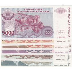 Serbia, 5000 Dinara, 50000 Dinara (2), 100000 Dinara, 500000 Dinara and 100000000 Dinara, 1993, UNC,