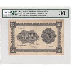 Seychelles, 50 Rupees, 1960, VF, p13bbr/PMG 30, Queen Elizabeth II portrait, serial number: A/2 0829