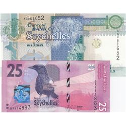 Seychelles, 10 Ruppes and 25 Rupees, 2013/2016, UNC, p36c, p48, (Total 2 banknotes)br/serial numbers