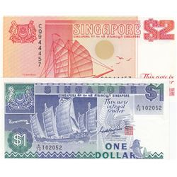 Singapore, 1 Dollar and 2 Dollars, 1987/1990, UNC, p18, p27, (Total 2 banknotes)br/serial numbers: A