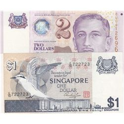 Singapore, 1 Dollar and 2 Dollars, 1976/1999, UNC, p9, p38, (Total 2 banknotes)br/serial numbers: G/